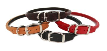 Round - Rolled Dog Collars - 8 colors available