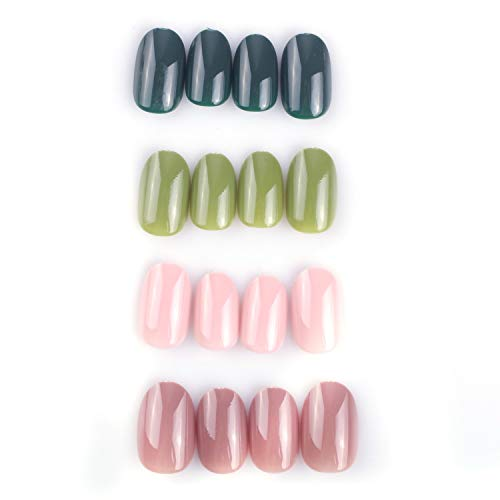 96Pcs Colorful Acrylic Nails Full Cover Short Oval UV Top Coat Covered False Gel Nails Art Tips Sets(Matcha Chocolate Series) (The Best Nail Designs On Acrylic Nails)