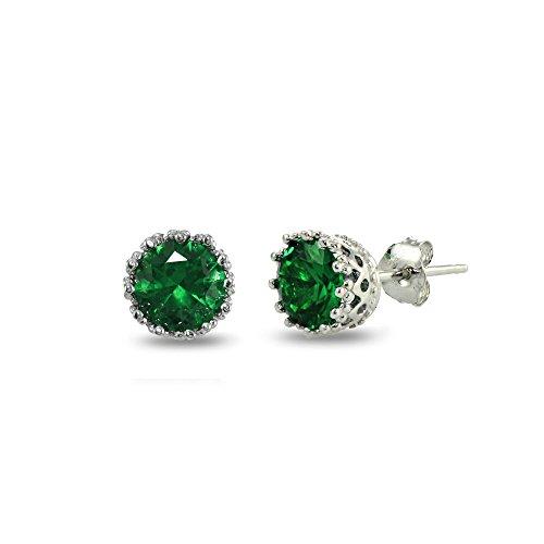 Sterling Silver Simulated Emerald Crown Stud Earrings