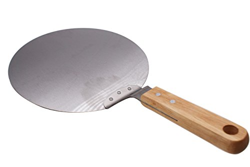 Pizza Peel, KOOTIPS Stainless Steel Pizza Peel, Cake Lifter, 10 Inch Diameter - For Cakes, Pizzas, Pies,Tarts (Wood handle)