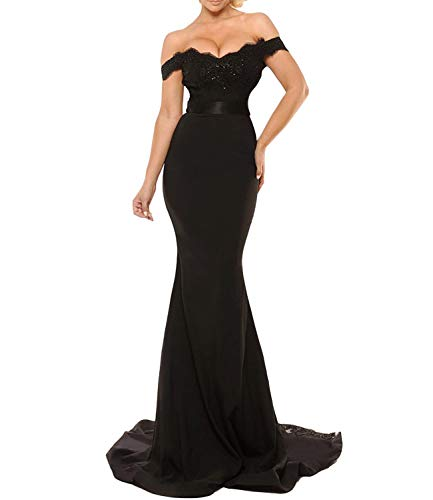 Women's Off The Shoulder Lace Mermaid Prom Party Gowns Bridesmaid Evening Dresses (10, Black) (Gown Prom Slim)