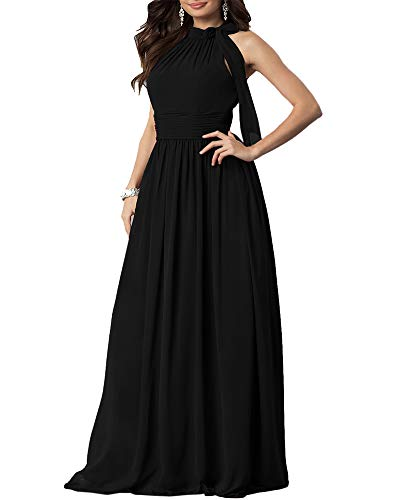 Aofur New Lace Long Chiffon Formal Evening Bridesmaid Dresses Maxi Party Ball Prom Gown Dress Plus Size (XXXX-Large, Black Short Sleeve)