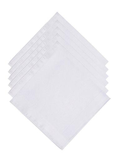 The Forest Saver Pure Cotton Men's Handkerchiefs/Hankies with Hem White (Handkerchief Cotton White)