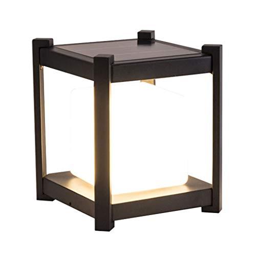 (Post Lights Solar Column Head Light Outdoor Gate Pillar Lamp Home LED Waterproof Door Light Villa Wall Garden Light Simple Outdoor Light (Color : Black, Size : 3032cm))