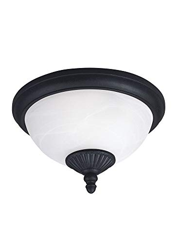 Sea Gull Lighting 88048EN3-185 Two Light Outdoor Ceiling Flush Mount, Forged Iron
