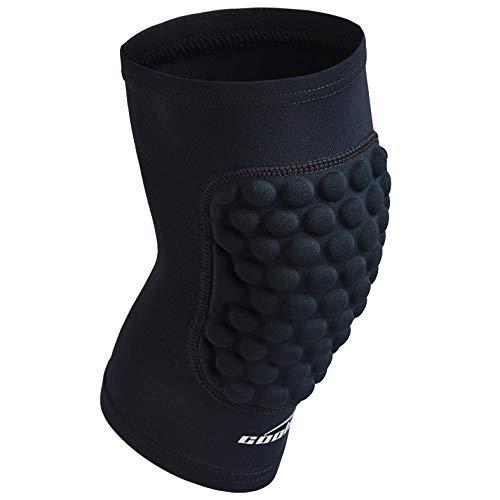 COOLOMG Pad Crashproof Antislip Basketball Leg Knee Short Sleeve Protector Gear (1 Piece), Black, Small