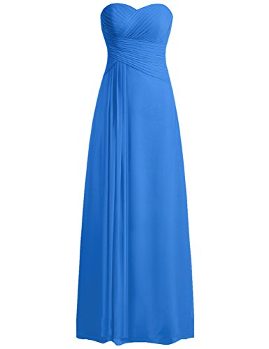Chiffon Pleats Evening Gown - JAEDEN Sweetheart Bridesmaid Dresses Chiffon Long Prom Evening Gown Pleat Ocean Blue XS
