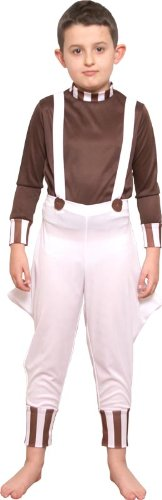 Oompa Loompa Factory Worker Costume (Pams Big Boys' Factory Worker Age Ren Fancy Costumesuitable For School Book Day Large (8-10 Years) White)