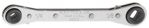 Box Ratcheting Wrench Klein (Ratcheting Refrigeration Wrench,Reversible Wrench with  3/16 and 5/16-Inch Square and 1/4 and 3/8-Inch Square Sizes Klein Tools 68310)