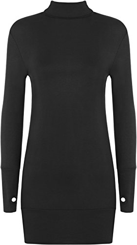WearAll Women' BodyCon Polo Thumb Hole Dress Top - Black - US 8-10 (UK 12-14)]()