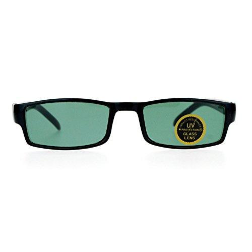 SA106 Glass Lens Black Classic Narrow Rectangular Plastic Spring Hinge - Narrow Rectangular Sunglasses