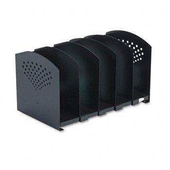 Safco® Five-Section Adjustable Steel Book Rack BOOKRACK,ADJ,5 SEC,15'',BK (Pack of2)
