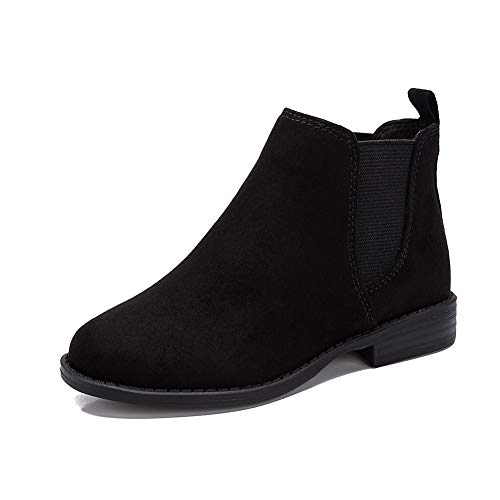 Pescool Girl's Chelsea Booties Casual Low Heel Slip on Brie Ankle Boots (2, Black)