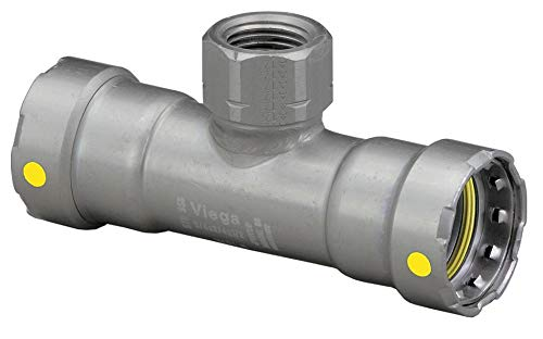 (Viega Megapressg Carbon Steel Reducing Tee, Press x Press x FPT Connection Type, 1-1/2