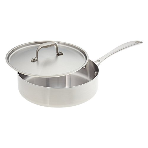 American Kitchen Cookware 10-inch Stainless Steel Sauté Pan with Fitted Cover; Tri-Ply Stainless Steel; Manufactured in USA