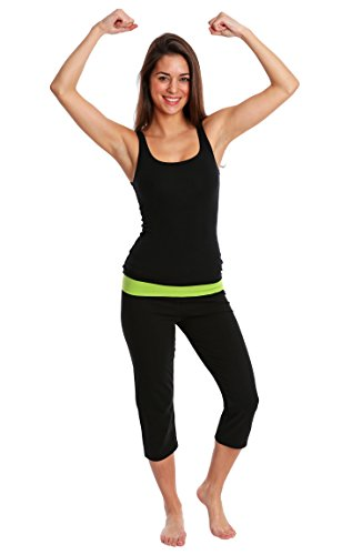 Nouveau Active Capri Yoga Pant with Contrasting Color Waistband; Black / Lime Combo;Small (Dyed Capri Pants)