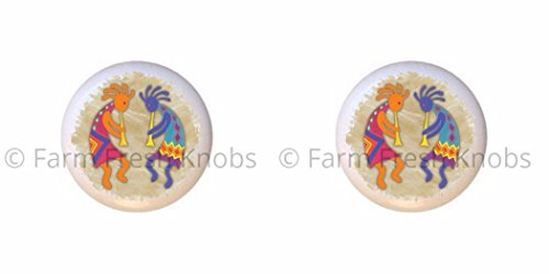 SET OF 2 KNOBS - Kokopelli Design #132 - Kokopelli Flute God - DECORATIVE Glossy CERAMIC Cupboard Cabinet PULLS Dresser Drawer (Kokopelli Cabinet Knob)