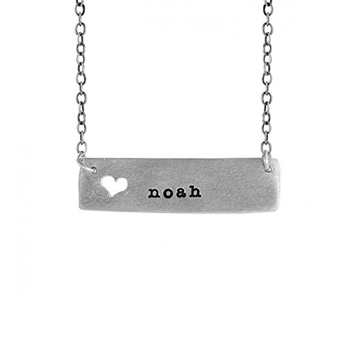 - TwoBirch noah Name Necklace - noah Cutout Heart Name Necklace in Sterling Silver Includes 18