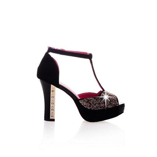 hauts plateforme sandales chunky VogueZone009 en talons satinés avec daim à Femmes toe verre talons diamant talons peep à 5qwYqz8