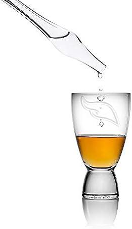 Set de Degustación de Whisky con Gotero de Agua, Alambique y un Vaso Pequeño de Whisky - El set incluye una Pipeta de Agua para Scotch, Whisky, Bourbon y Rye - Regalo de Whisky por Angels' Share Glass