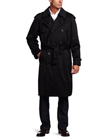 Hart Schaffner Marx Men's Burnett Trench Coat, Black, 40 Short