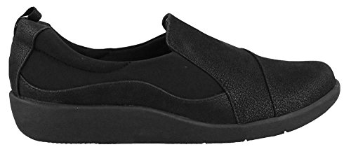 Clarks Women's CloudSteppers Sillian Paz Slip-On Loafer, Black Synthetic Nubuck, 10 W US