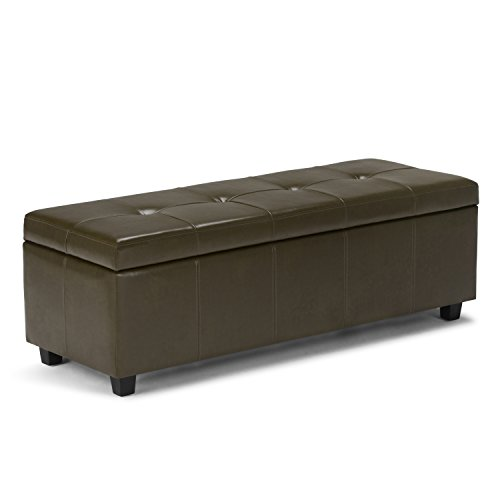 Simpli Home 3AXCOT-241-GR Castleford Storage Ottoman in Deep Olive Green Bonded Leather