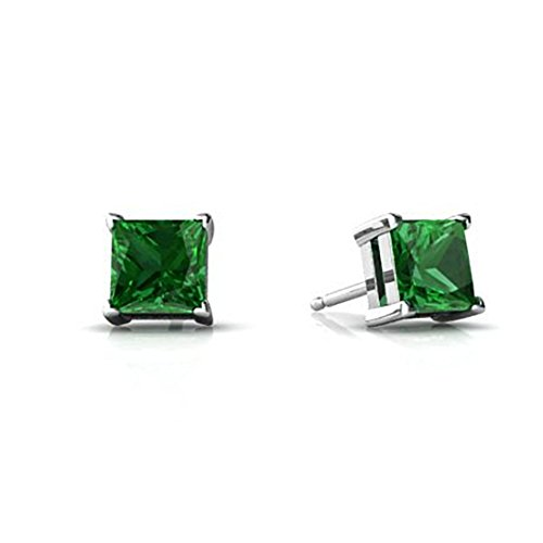 (Solitaire Stud Post Earring Princess Cut Square Simulated Green Emerald 925 Sterling Silver)