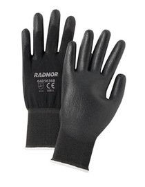 Radnor Glove Economy Medium 13 Gauge Nylon Seamless Knit Black Polyurethane Palm And Fingertip Knitwrist Black -1 Dozen Pairs