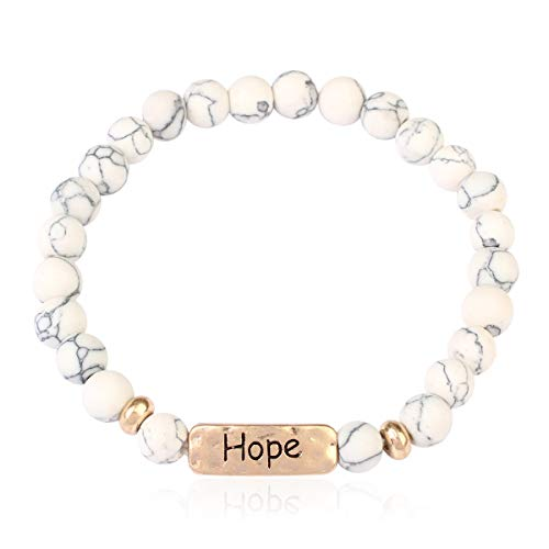 RIAH FASHION Inspirational Bar Natural Stone Stretch Prayer Bracelet - Christian Religious Message Adjustable Cuff Bangle Blessed/Faith/Love/Hope/Bible (Hope - White ()