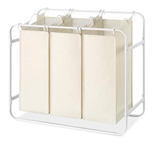 (Whitmor Retro Triple Laundry Sorter w/ 3 Removable Canvas Bags, White)
