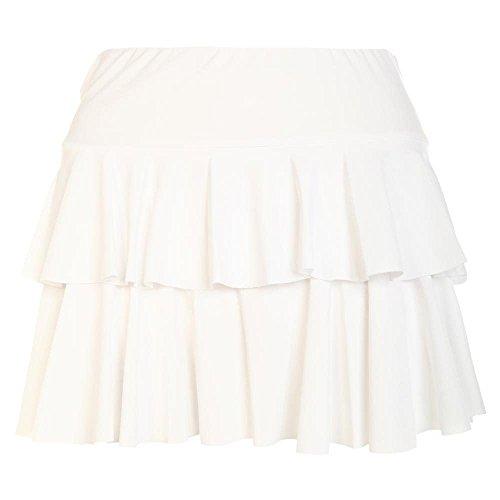 Janisramone Nouveau Femme Mini Jupe ''Rara'' Jupe Courte Simple et lgante Blanc