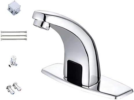自動センサー水栓、ハンズフリー水栓非接触、すべて銅素材の浴室の流しの水栓、耐熱性/耐摩耗性/防錆性、公共の場所/家族に適しています