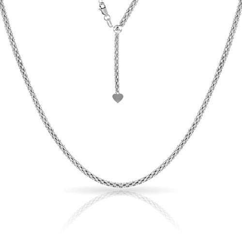 Verona Jewelers Sterling Silver 1.5MM Adjustable Popcorn Bolo Chain for Women- Thin AdjustablePopcorn Necklace (Silver) ()