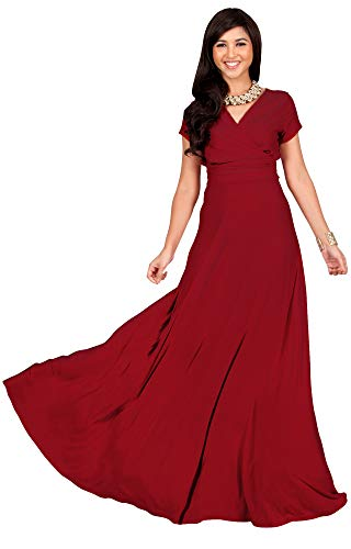 Empire Ball Gown - KOH KOH Womens Long Cap Short Sleeve V-neck Flowy Cocktail Slimming Summer Sexy Casual Formal Sun Sundress Work Cute Gown Gowns Maxi Dress Dresses, Red M 8-10