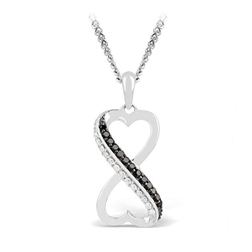 - 925 Sterling Silver 1/8 Carat (H-I Color, I3 Clarity) Black & White Diamond Infinity Heart Dangling Pendant