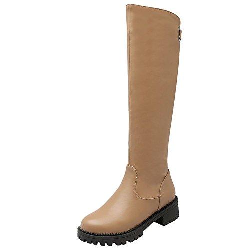 Mee Shoes Women's Charm Block Mid Heel Round Toe Knee Boots Beige
