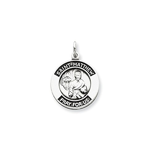 (925 Sterling Silver Saint Matthew Medal Pendant Charm Necklace Religious Patron St Fine Jewelry Gifts For Women For Her)