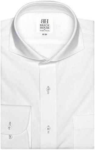 ブリックハウス ワイシャツ 長袖 形態安定 ビズポロ ニットシャツ ホリゾンタル ワイド スリム メンズ BM010201AB11Z3N-90