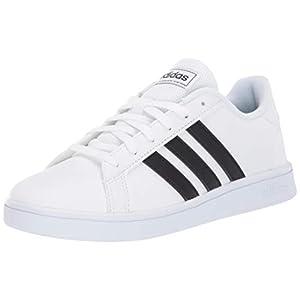 adidas Unisex-Kid's Grand Court K Sneaker, White/Black/Pure White, 13K M US Little Kid