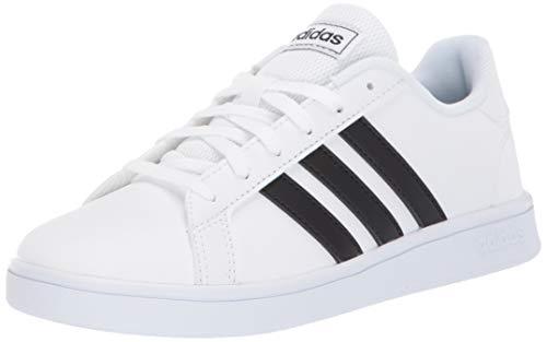 adidas Unisex-Kid's Grand Court K Sneaker, White/Black/White, 4 M US Big Kid
