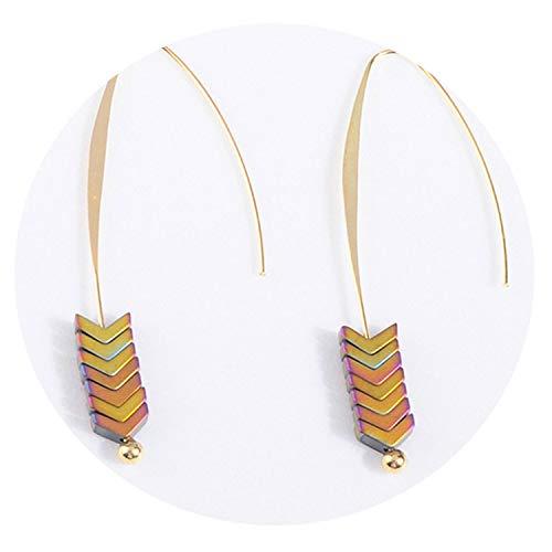 Vintage Natural Rock Stud Earrings Spear Gold Triangle Arrow Long Hook Earrings Women Jewelry Punk Brincos,Color6