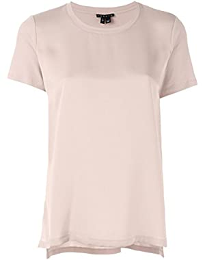 Theory Women's Apdime Modern GGT Mixed Media Top in Blush (Pink) Size Medium