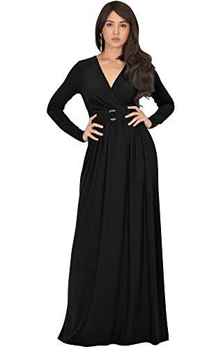 KOH KOH Petite Womens Long Sleeve V-Neck Floor Full Length Elegant Casual Evening Semi Formal Fall Winter Modest Maternity Dressy Gown Gowns Maxi Dress Dresses, Black S 4-6