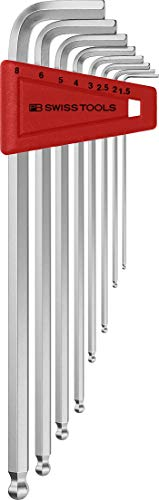 PB Swiss Tools INNENSECHSKANT Winkelschraubendreher-Set PB 212, 8-tlg. (1,5/2/2,5/3/4/5/6/8 mm), Kugelkopf, Lang, 100…