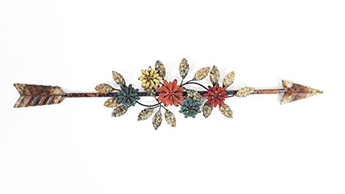 Metal Flower-Embellished Arrow Wall Decor (Metal Flowers Wall For)