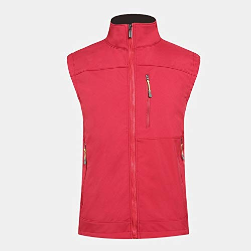 XYL HOME Outdoor Charge Vest Windproof Waterproof Soft Shell Vest, ROT, S