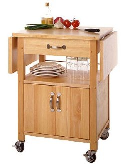 Furniture Contemporary Kitchen Microwave Cart with Drop Leaves