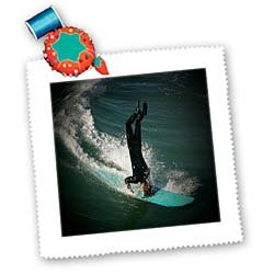 3dRose Huntington Beach Headstand Surfing Square Quilt Sheet, 10 by 10-Inch