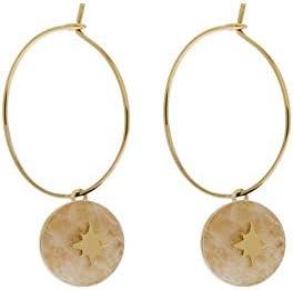 Zag Bijoux - Pendientes de aro, diseño de Estrella y Cuarzo, Color Rosa (Dorado)